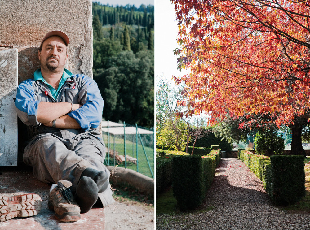LEFT A worker at Fattoria di Maiano's olive-oil press enjoys a rest in the sunshine. RIGHT One of the pleasures of visiting Fattoria di Maiano is taking a stroll in its well-tended gardens.