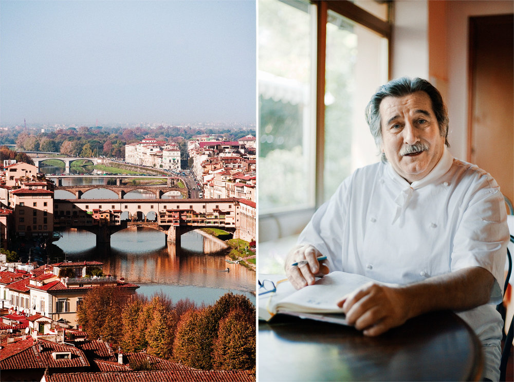 LEFT An afternoon spent wandering around the shops on the Ponte Vecchio, the shop-lined medieval bridge spanning the Arno river, is the way to enjoy historical Florence. RIGHT The incomparable Libero, owner of I Tre Pini restaurant.
