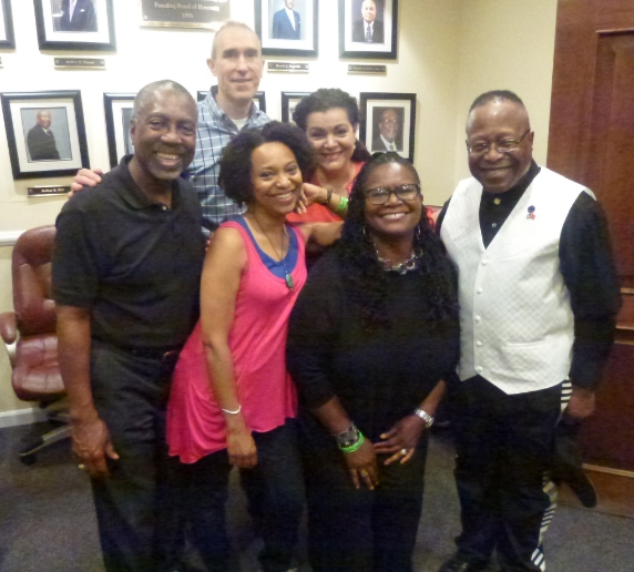 Backstage at the Apollo with Jazzy Twist musicians Mario Sprouse, Napoleon Revel-s Bey, Jessee Crawford, Patricia Phillips and Alva Anderson