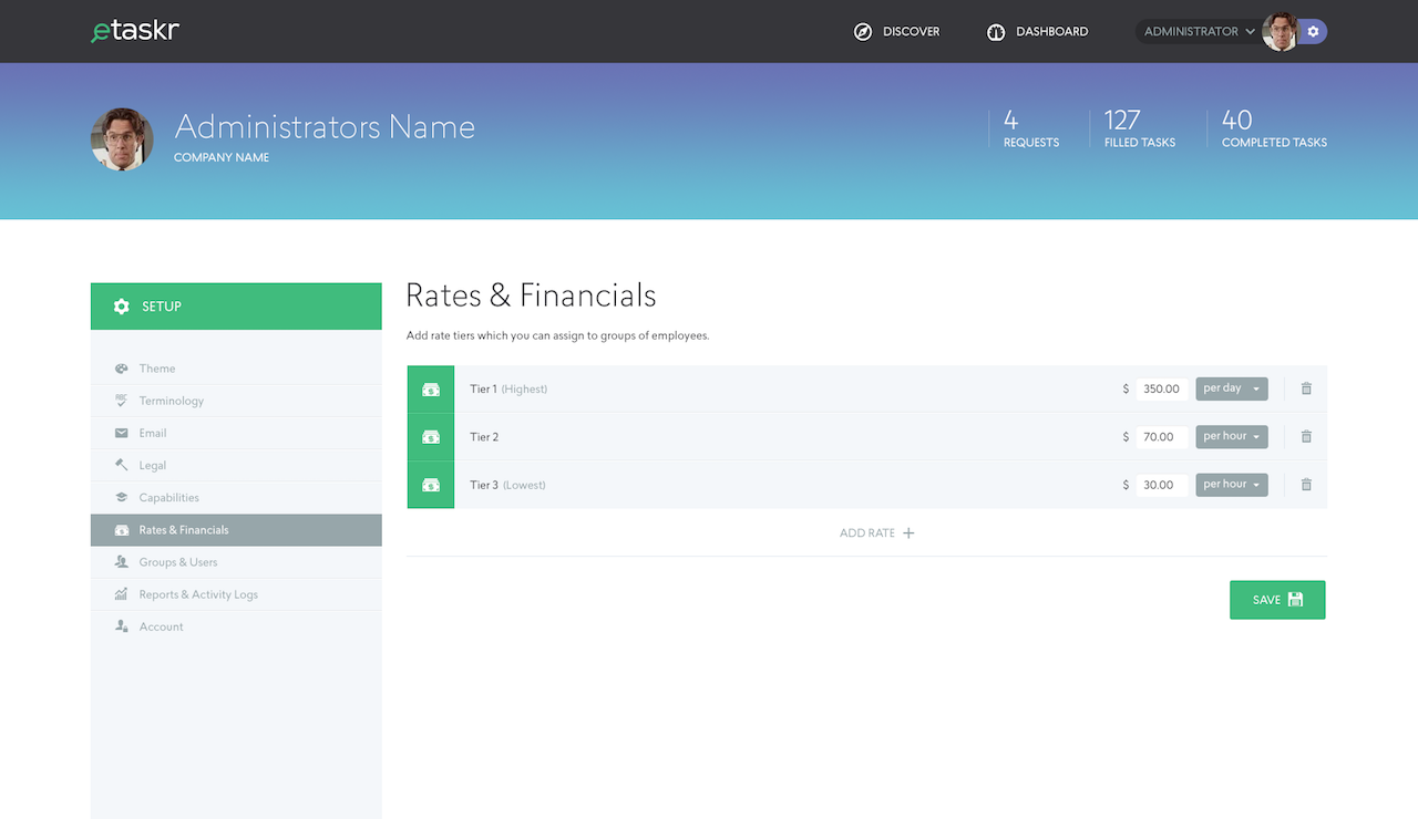 Rates and financials option in Administrator mode