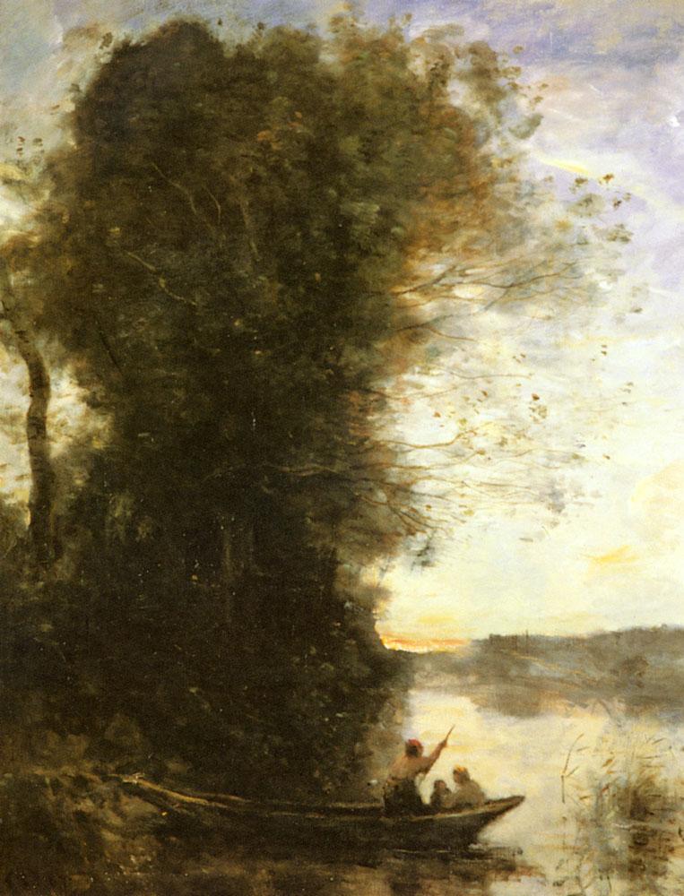 Camille Corot;  Le Batelier Quittant La Rive Avec Une Femme Et Un Enfant Assis Dans Sa Barque, Soleil Couchant ; Oil on Canvas