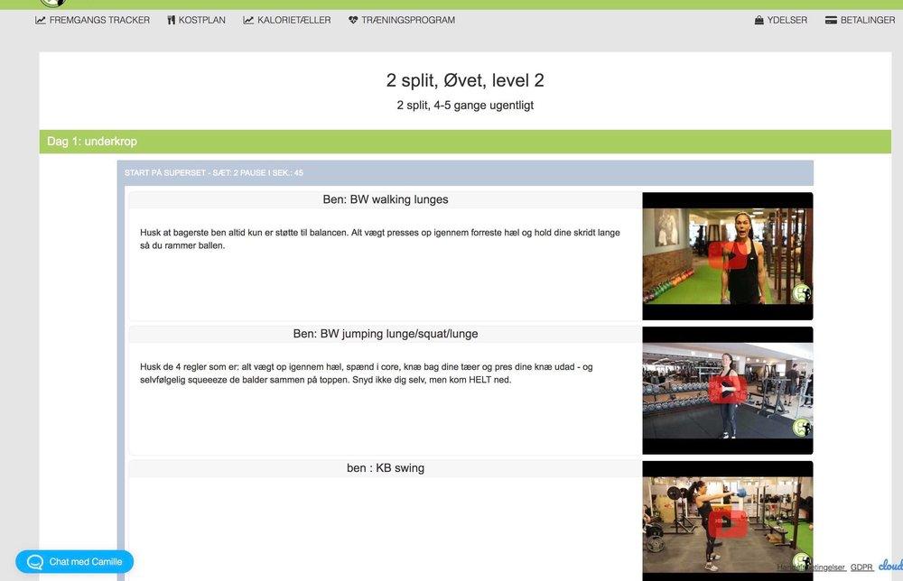 Træningsprogram som er underbygget med mine egne youtube film så du ikke er i tvivl.