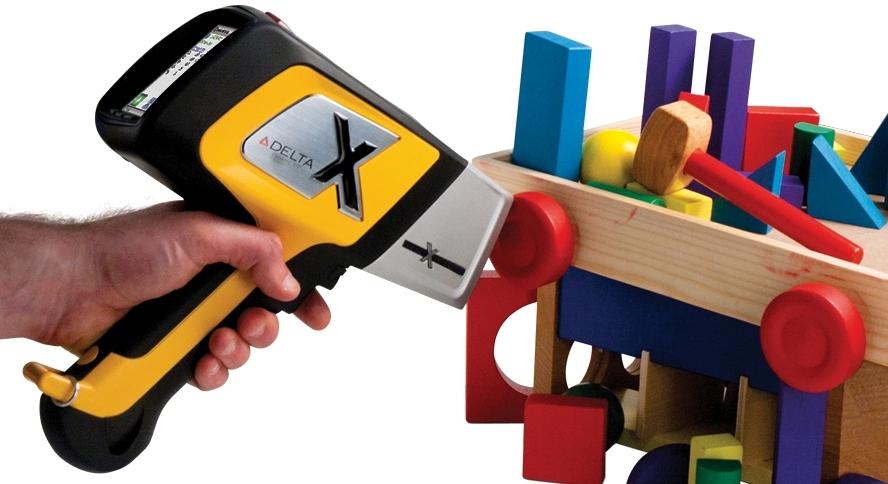 Olympus Innov-X DELTA Premium handheld XRF analyzer testing for lead contamination in toys