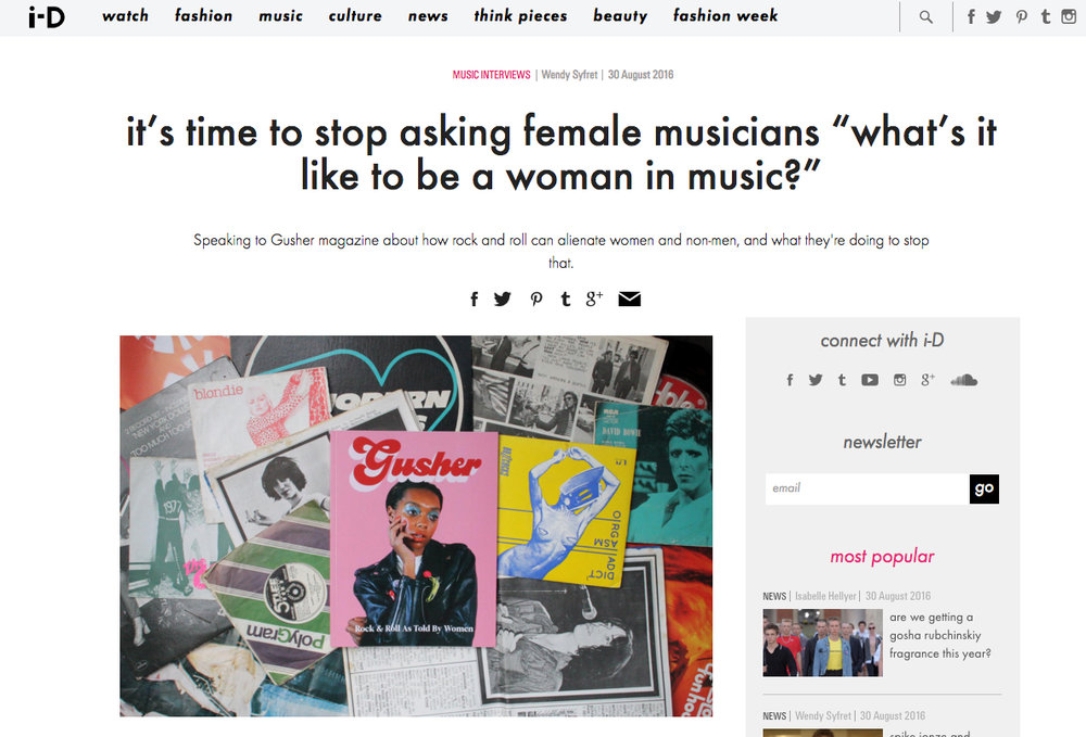 "i-D: It's time to stop asking female musicians ""What's it like to be a woman in music?"""