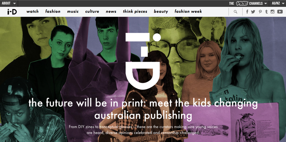 i-D: The future will be in print: meet the kids changing Australian publishing