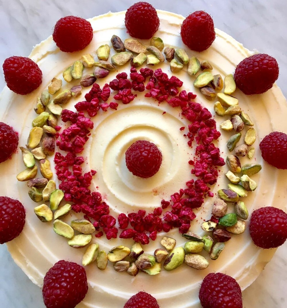 Exclusive raspberry, lime & pistachio cake
