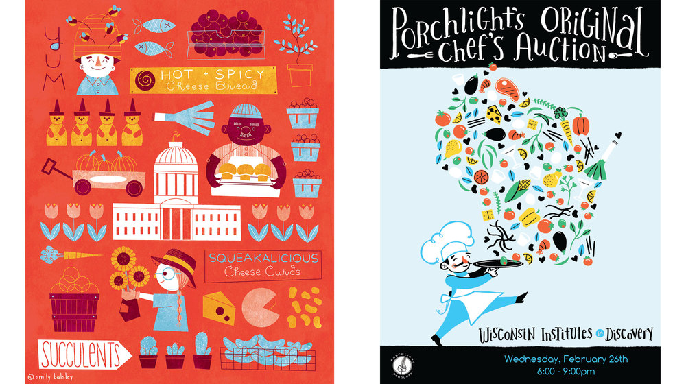 (L) Dane County Farmers' Market - Personal Project (R) Supporting Collateral for Porchlight Inc.'s fundraiser, The Chef's Auction