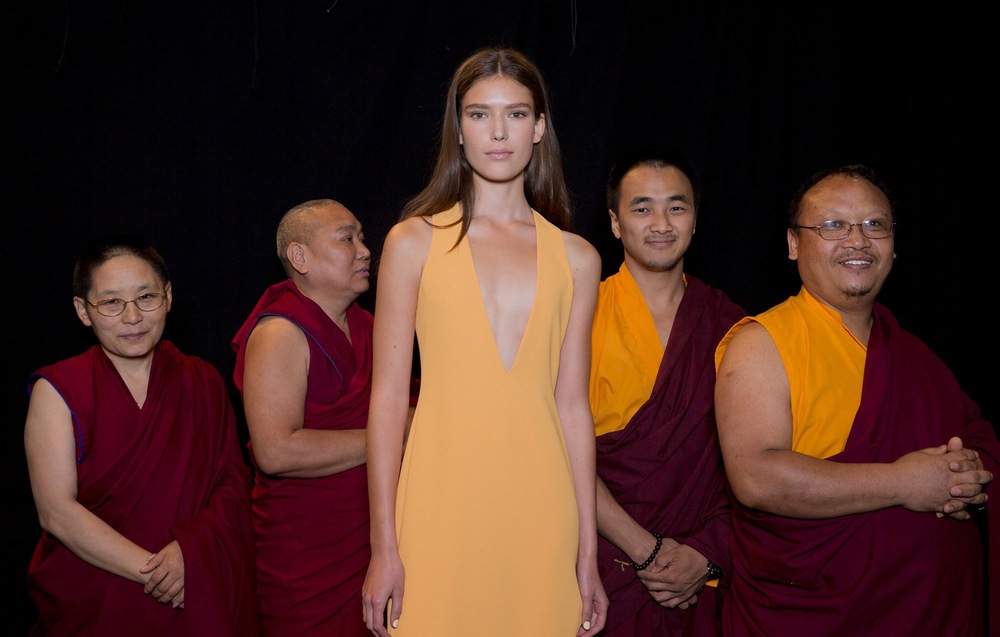 IX. Hanging with monks backstage at Prabal Gurung. At the opening of his SS16 show, the designer honored his native country of Nepal with a solemn prayer (chanted by these beaming fellows here) for victims of this spring's earthquake in Kathmandu. Using his runway as a platform, Monsieur Gurung succeeded in restoring public attention to the disaster. It would be nice to see more shows doing the same-- with such broad audiences and wide publicity, fashion houses have the power to influence not only what we wear, but how we think and feel as well.