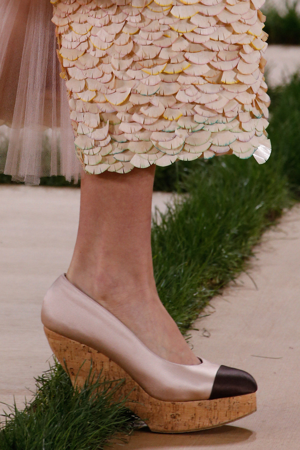 Detail of my dress' wood chip hemline at the Chanel Couture spring '16 show in Paris. Image courtesy of Vogue.com