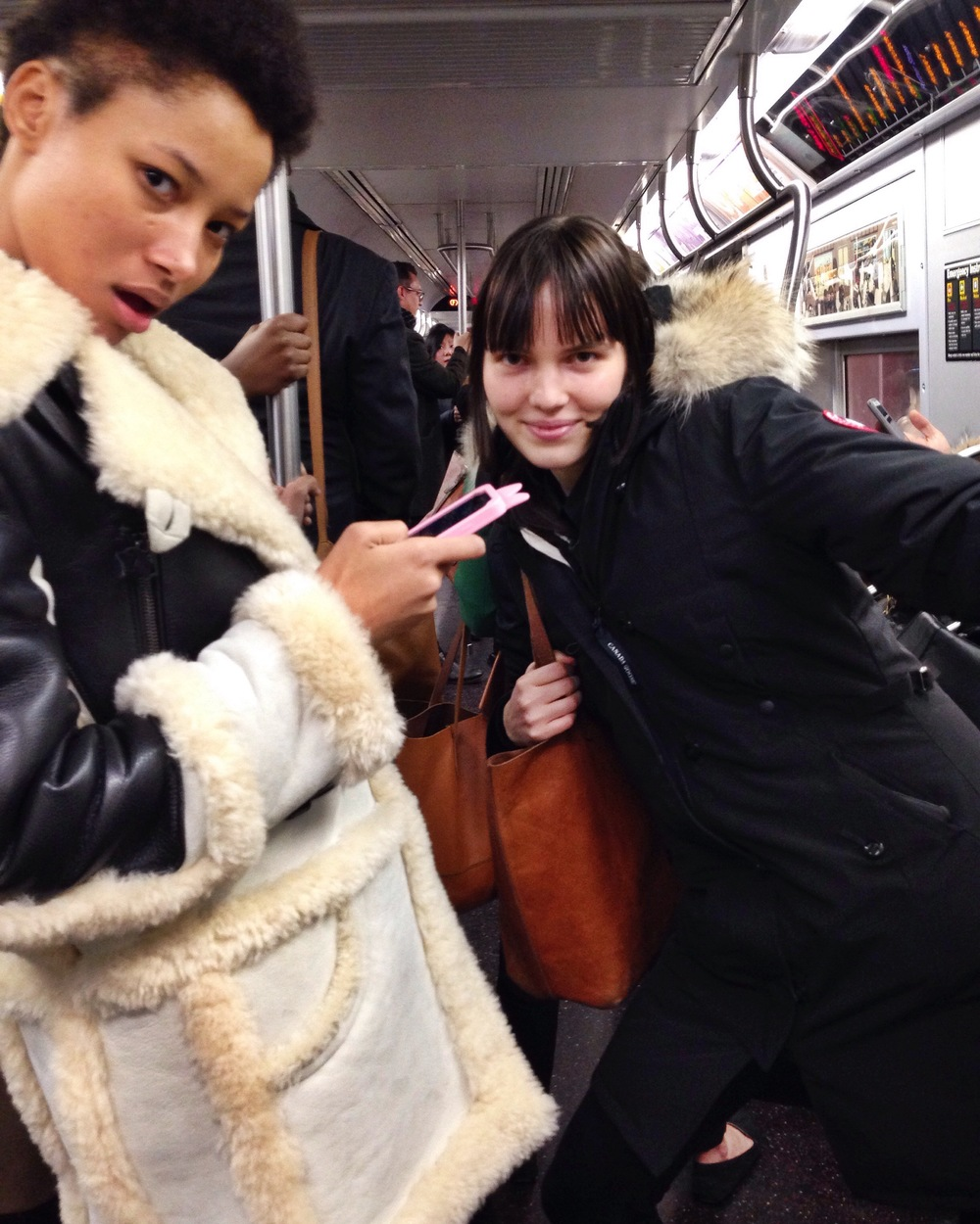 With Lineisy Montero and Lily Stewart on the subway  between castings <3