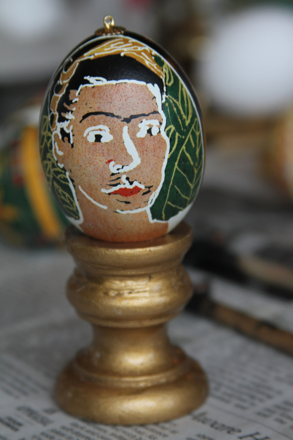 My First egg this year- portrait of Frida Kahlo