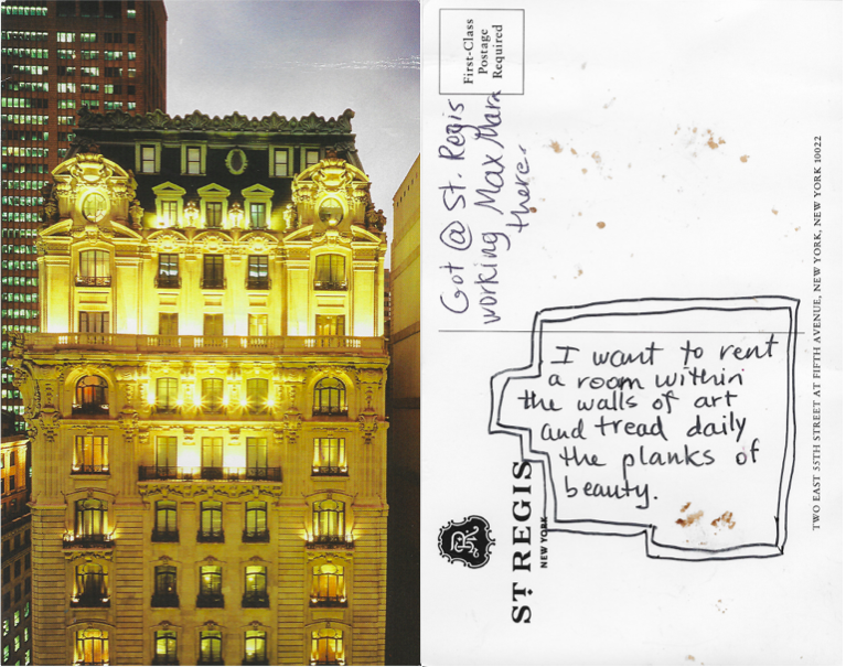 Postcard from a desk drawer in the Bentley Suite in the St. Regis Hotel, NYC