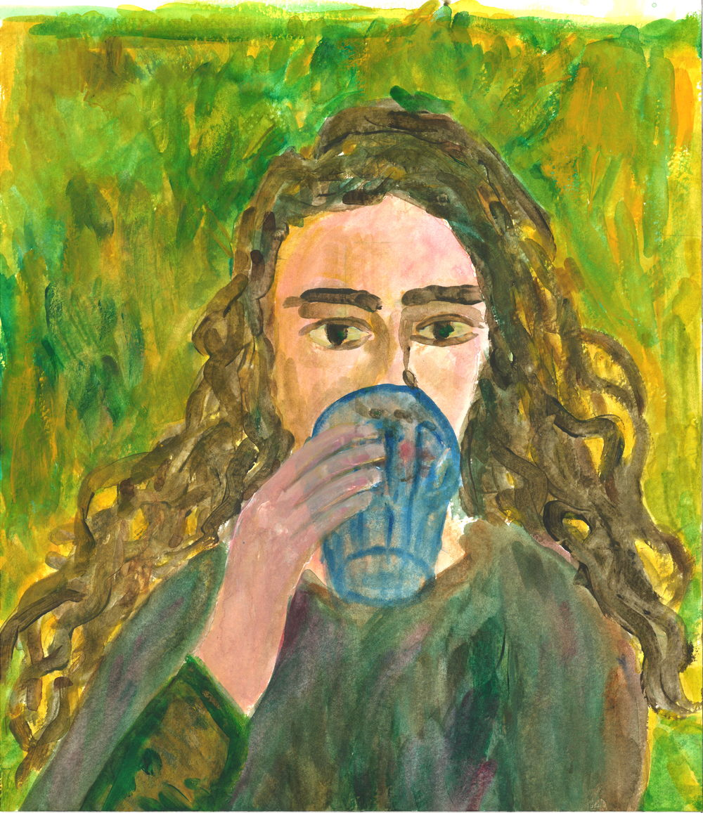 Watercolor and Gouache on Paper. Self Portrait, hydrating.