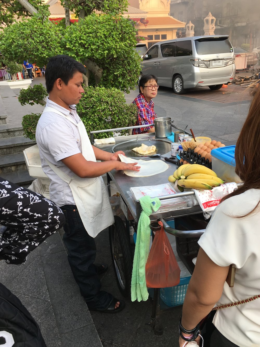 Street food: a crepe, it looked like, but filled with sliced banana and egg