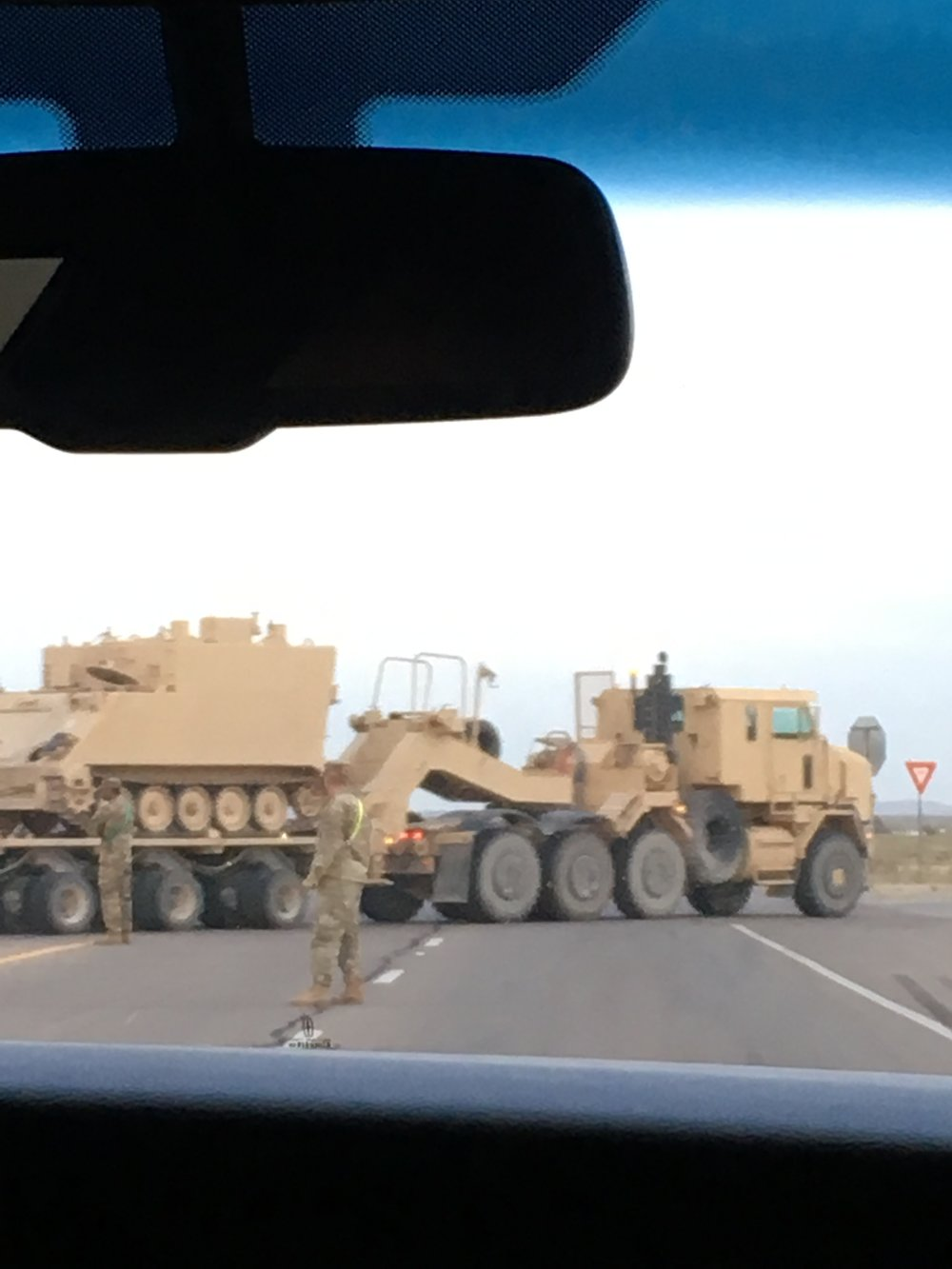 Stopped on Route 54 to let a military convoy cross the highway.