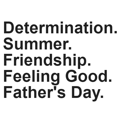 March 15, 2017 - DETERMINATION: blah blahSUMMER: sdfleodfoFRIENDSHIP: flsdflsjFEELING GOOD: sdfdsfihFATHER's DAY: fldlsdfih