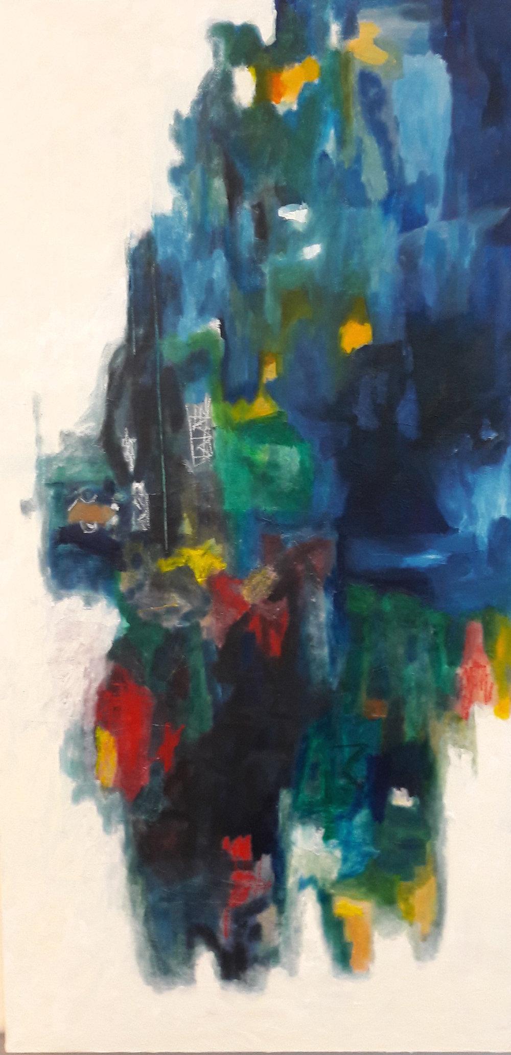 Au rythme du folklore, Oil & collage 200x90cm