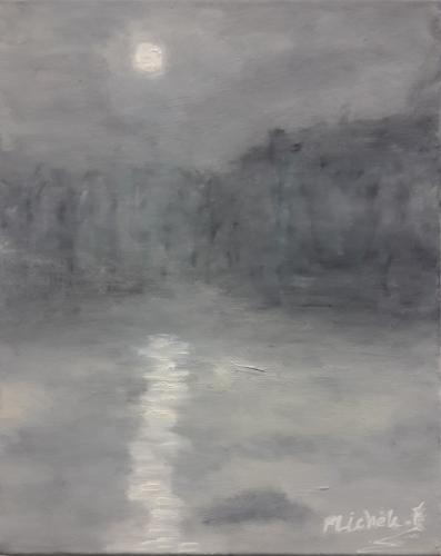 Coucher de soleil blanc, Oil on canvas 50x40cm
