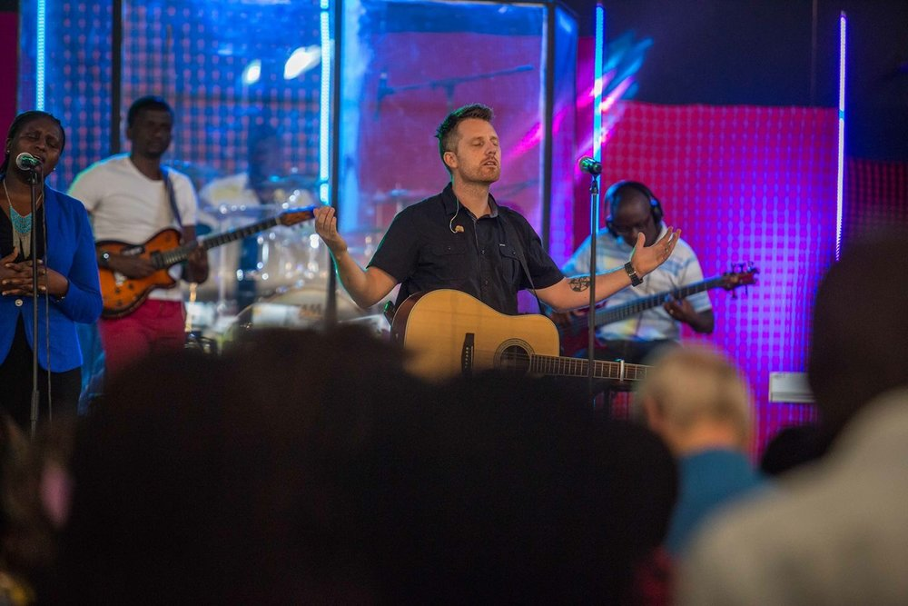 Leading worship with the Nairobi Chapel team.