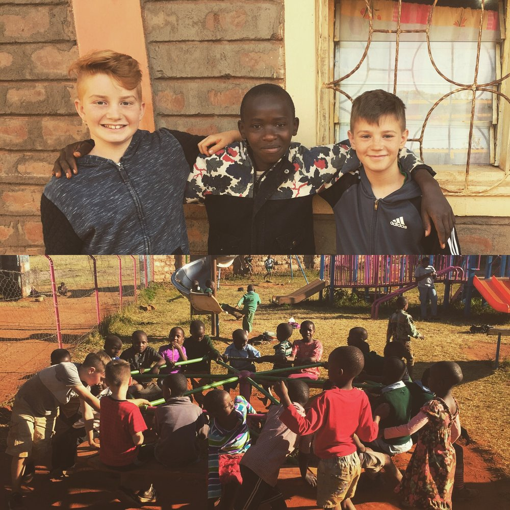 Our boys with newly made friends at the Mitaboni Kids Alive home.