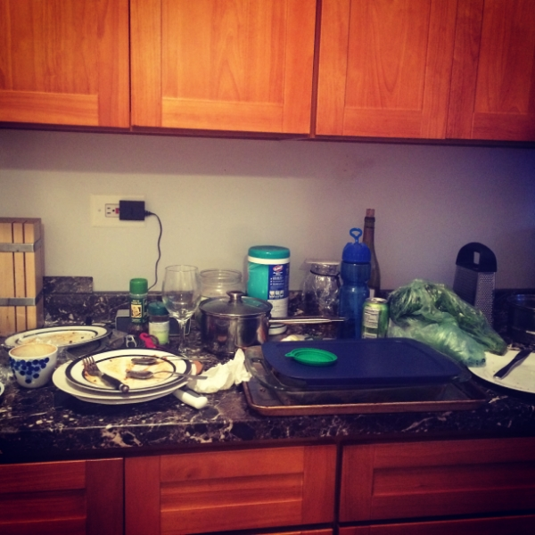 "My kitchen usually looked like this during the ""wake up at 5:30 a.m."" era."