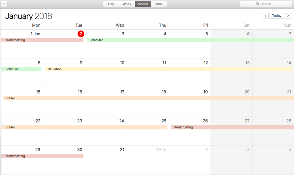My Seasonal Calendar using Google Calendar.