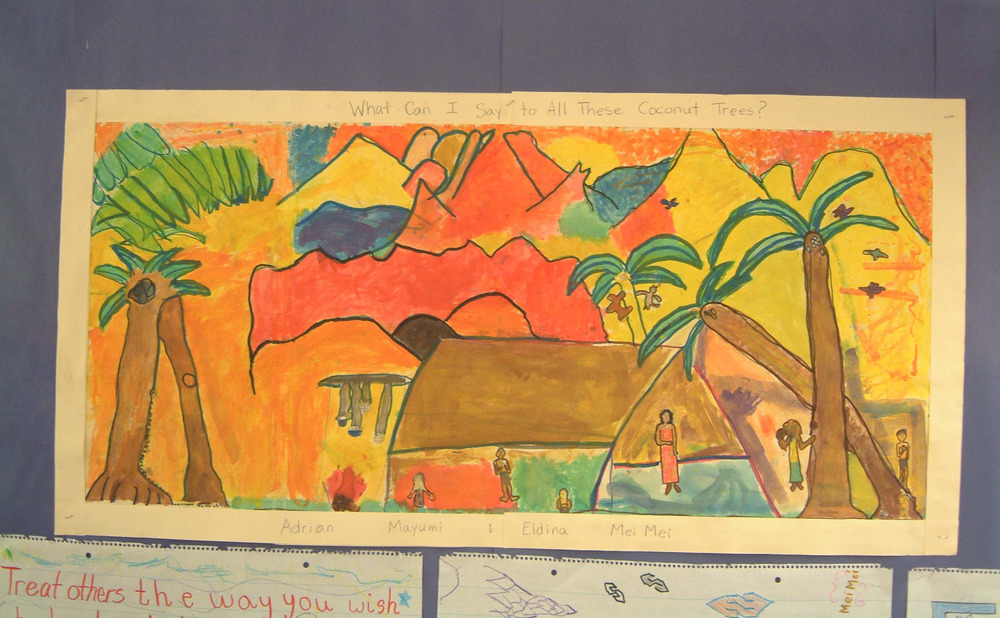 Red dogs & pink skies:  what can i say to all of those coconut trees?         Painted By Adrian, Mayumi,  ELDINA,  & Mei Mei         Fourth Grade, Manhattan school for children, ps333, new york city