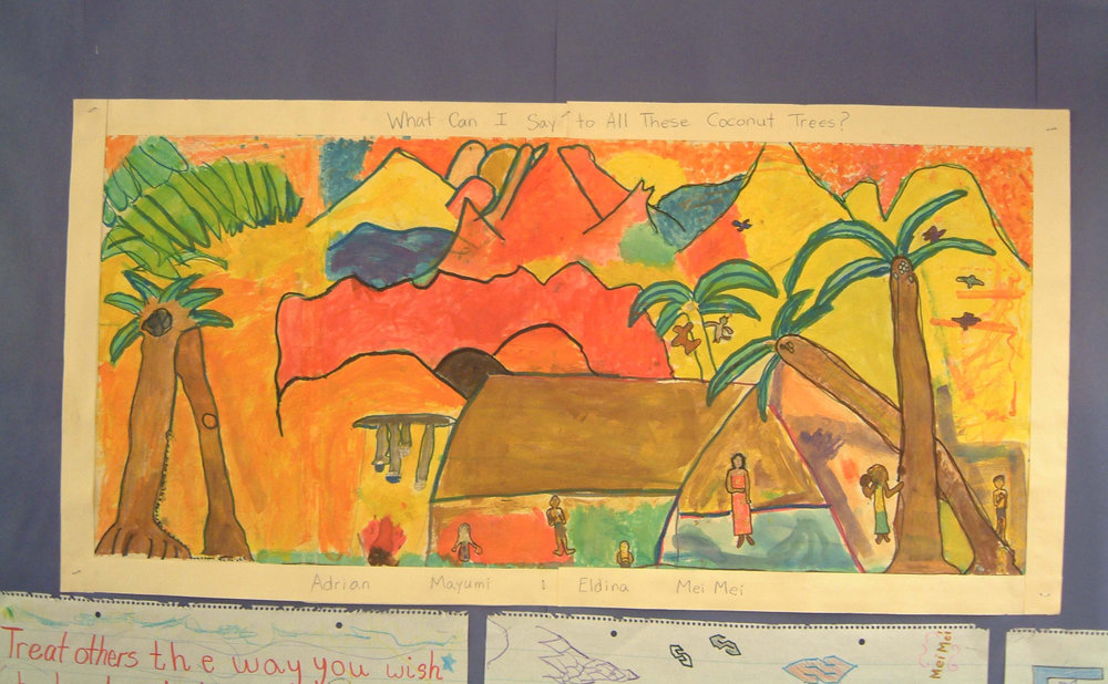 WHAT CAN I SAY TO ALL OF THOSE COCONUT TREES?        PAINTED BY ADRIAN, MAYUMI, ELDINA, & MEI MEI         FOURTH GRADE, MANHATTAN SCHOOL FOR CHILDREN, PS333, NEW YORK CITY