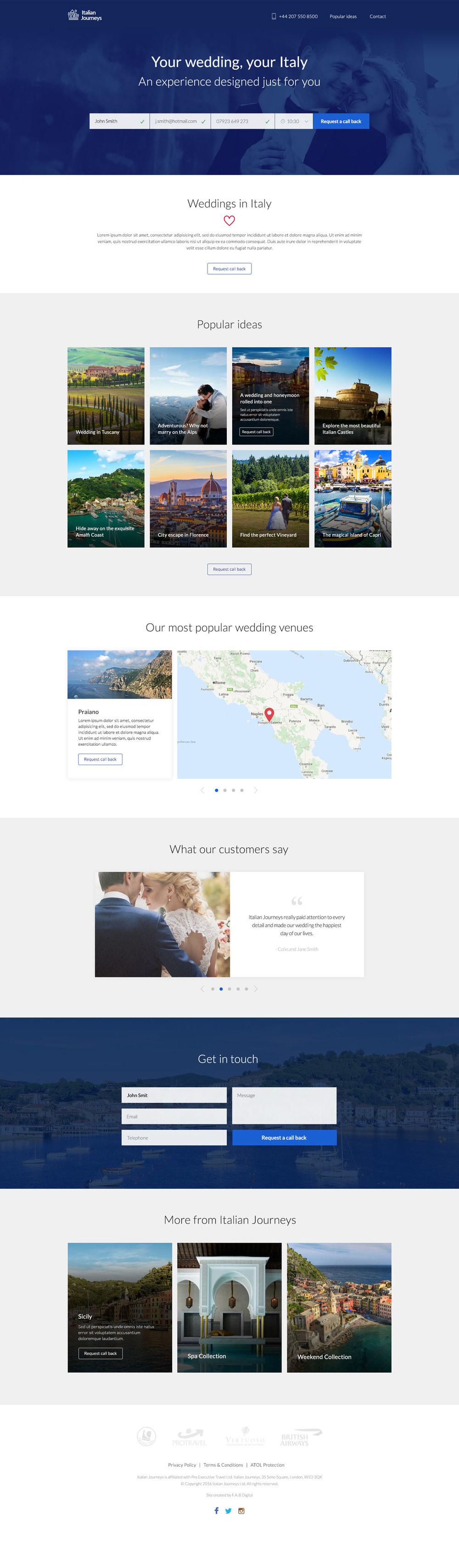 Italian Journeys landing page