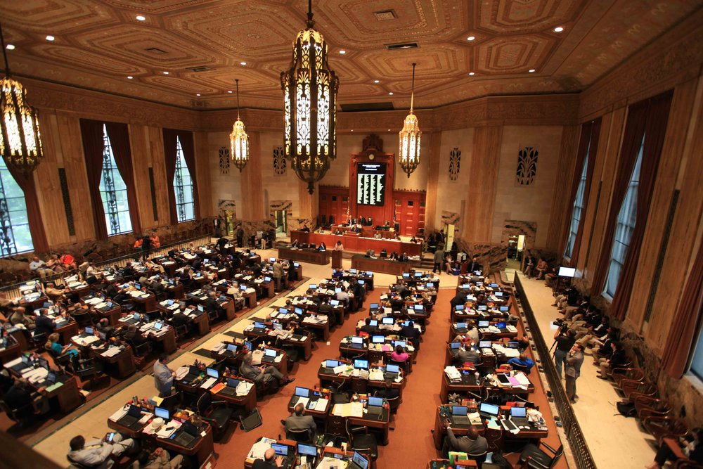 The Louisiana House of Representatives in session. Huey Long would wander onto the floor, sit on the Representatives' desks, and bully them into doing his will.