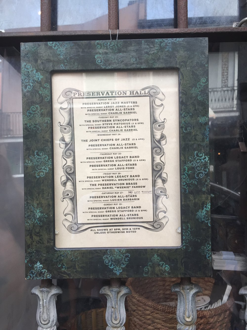 Schedule for Preservation Hall