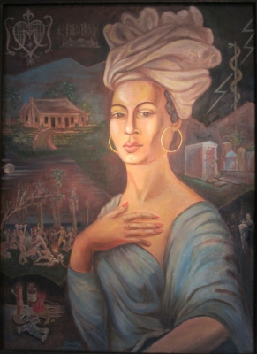 Portrait of Marie Laveau in the Voodoo Museum