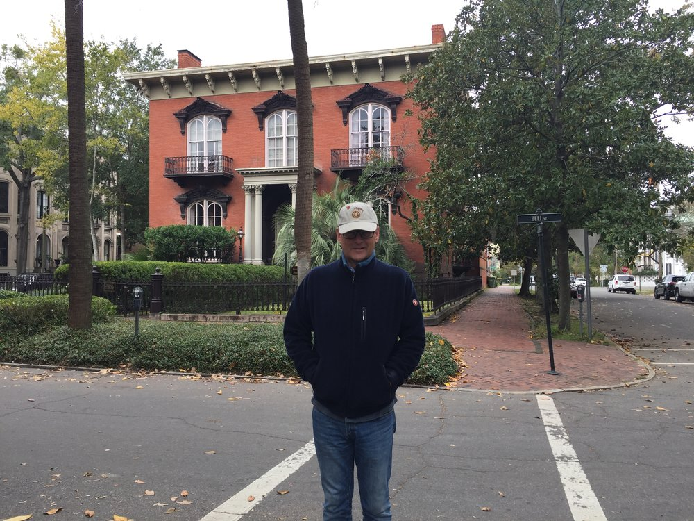 Guest blogger Colin Burrows, grumpy and cold outside the Mercer (Williams) House.