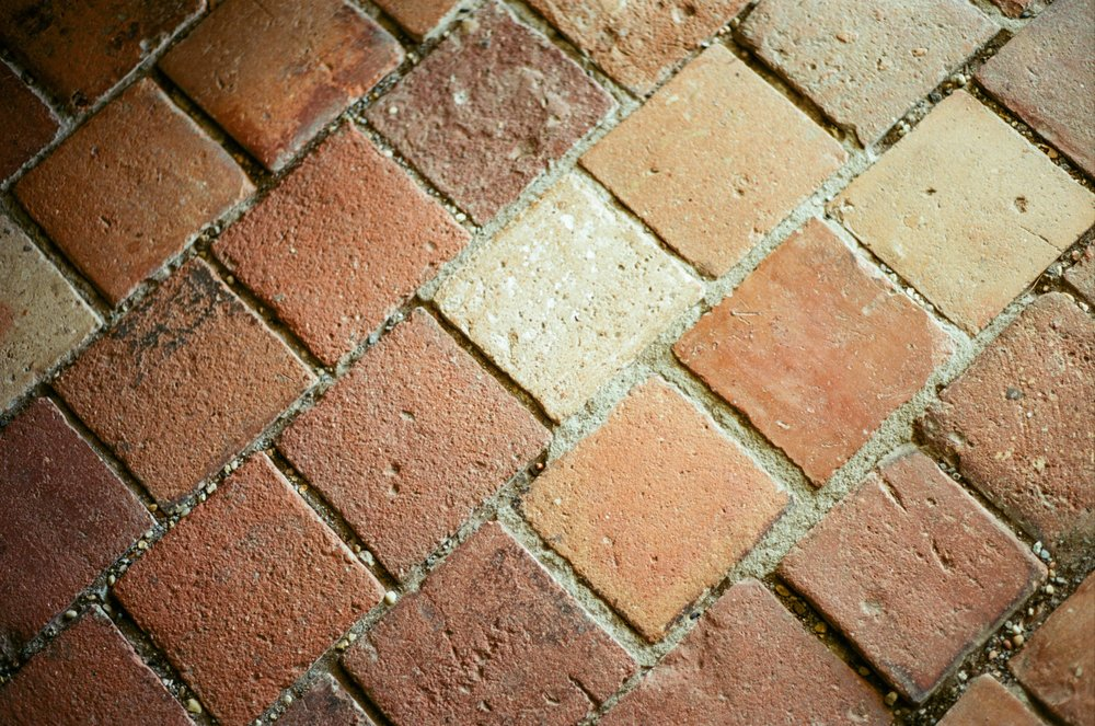 Bricks on the floor of the Haydel home laid by slaves