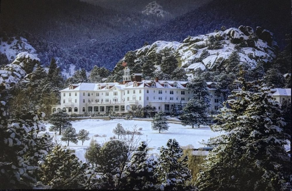 A postcard from the gift shop of the Stanley Hotel in the early 1970s during winter time. It's truly isolated, in the heart of the Estes Valley--no wonder King felt like going crazy.