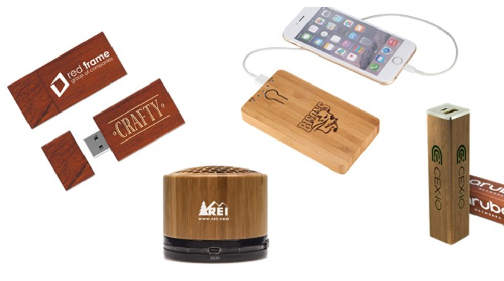 Eco Marketing Solutions can add your logo to bamboo speakers, cell phone chargers, and flash drives. Learn more about bamboo products here.