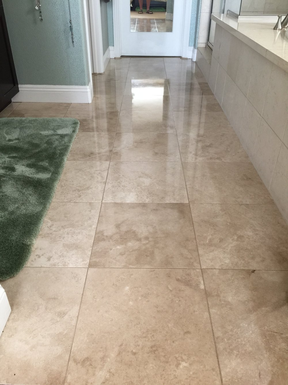 Travertine floor after coating is applied.