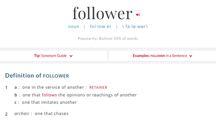 Follower Merriam Webster