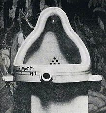 Fountain, 1917 (M.D)     Fountain  is one of  Duchamp's  most famous works and is widely seen as an icon of twentieth-century art. The original, which is lost, consisted of a standard urinal, usually presented on its back for exhibition purposes rather than upright, and was signed and dated 'R. Mutt  1917 '