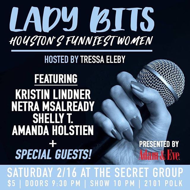 Can't wait for Lady Bits next Sat (Feb 16). We're going to be raffling off some very sexy goodie bags from Adam & Eve. Get ur tickets now! #thingstodohouston #comedy #comedian #standup #standupcomedy #houstonpress #funnywomen #saturday #houstontx #houston_insta #Houston #houstonnightlife #houstonevents #htown #htownights #979thebox #htx #montrose  #montrosehouston #eado #eadohouston #womenincomedy #houstoncomedy #texascomedy #houstonsaturdaynights #htownforreal #htownfinest #htowntakeover #htownsmistress #adamandeve