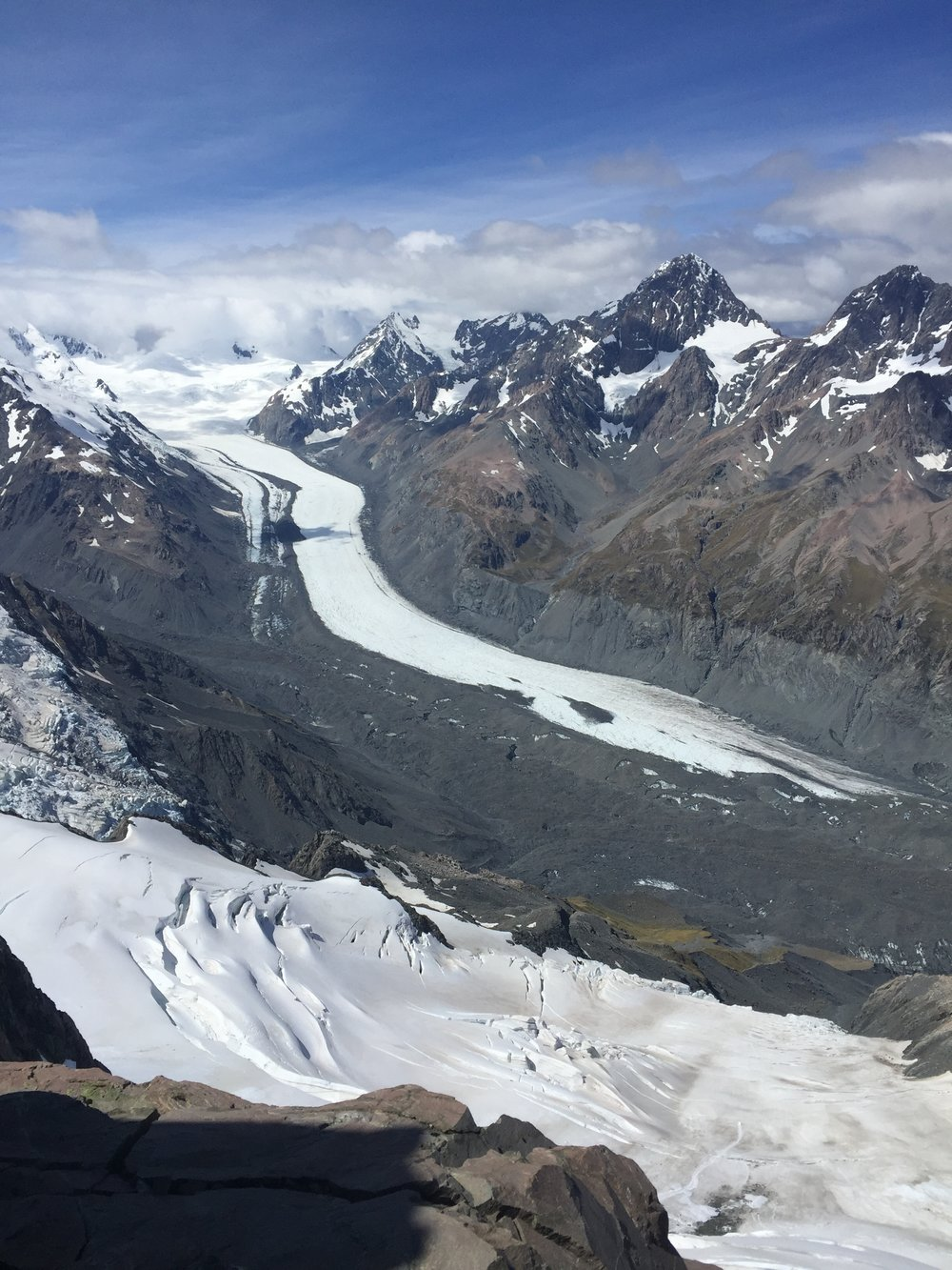 The Tasman Glacier, looking like an ice river, as seen from the summit of Glacier Dome
