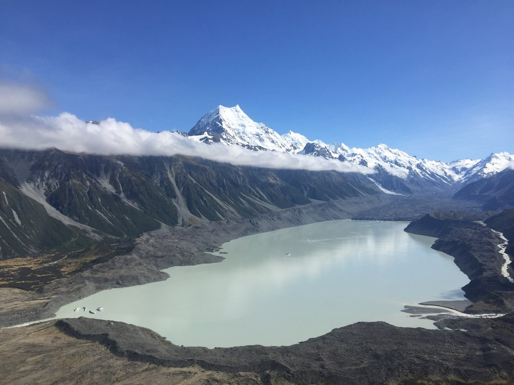 Tasman Lake, as seen from our helicopter to Plateau Hut