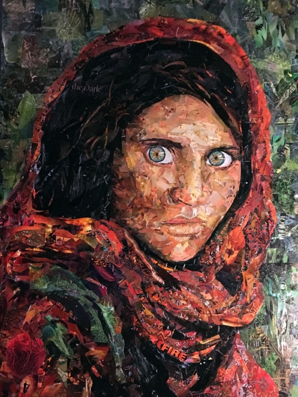Tim Carmany & Dyanne Williams Afghan Girl (Steve McCurry) National Geographic Paper Collage 48 inches x 72 inches