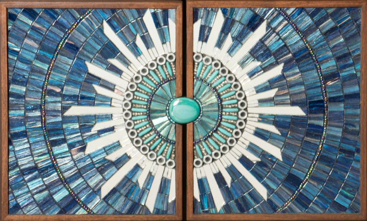 Blue Burst Mosaic Furniture Handles