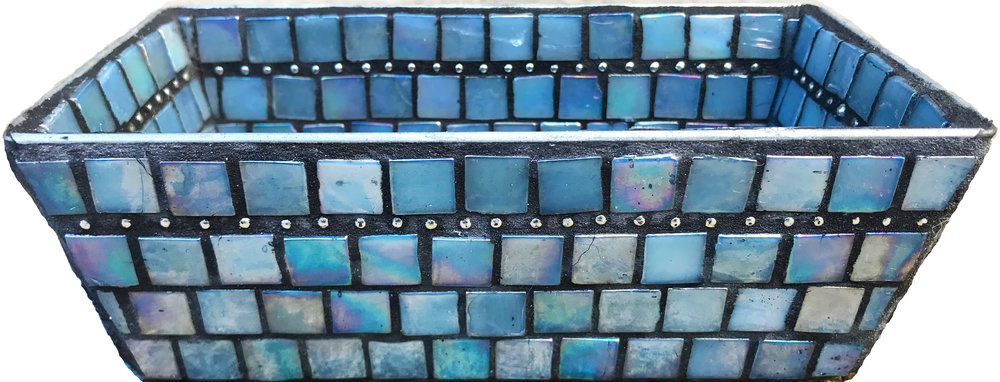 Blue Mosaic Bin