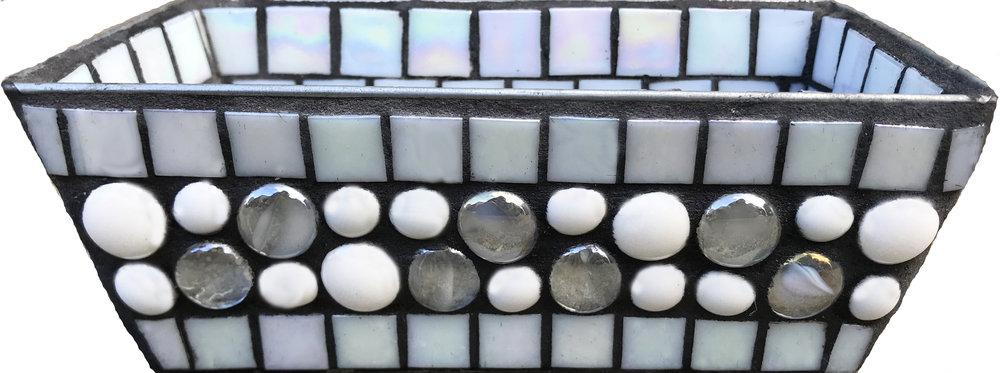 White Mosaic Bin