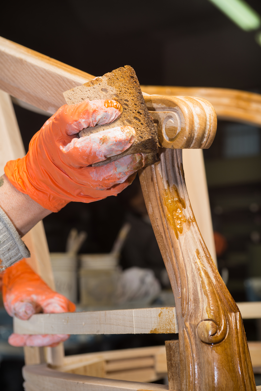One of our Masters finishing a chair