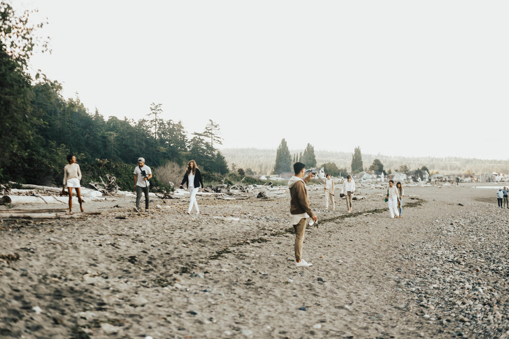 "THE ""TO GLASS FROM SAND"" TEAM MAKING THE TREK TO THE BLUFFS AT USELESS BAY, WHIDBEY ISLAND, WA TO OUR PART 1 SHOOT  PHOTOGRAPHY FOR AW17 BY LINA VEROVAYA 