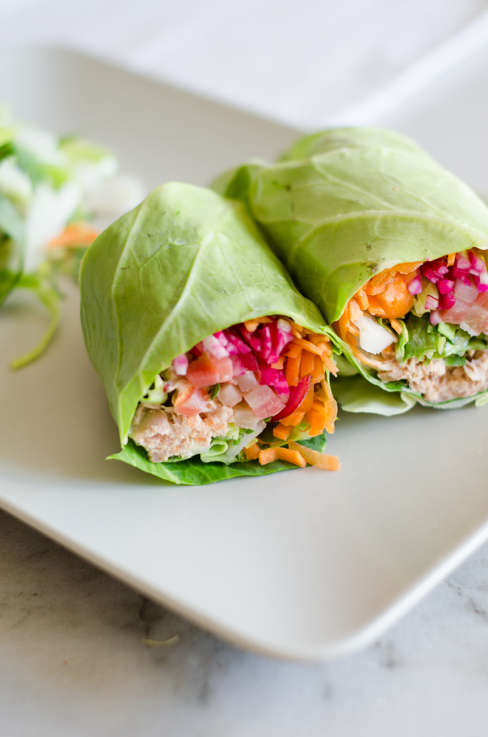 Summer Rainbow Tuna Rolls. This vegetarian-friendly recipe is all crunch & rainbow vegetables. Vegans can also enjoy this recipe by using the chickpea substitute! thenomadicwife.com