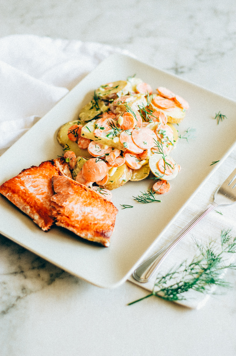 20 Minute Salmon Dinner with carrot & potato salad recipe. Enjoy this super simple recipe for dinner tonight